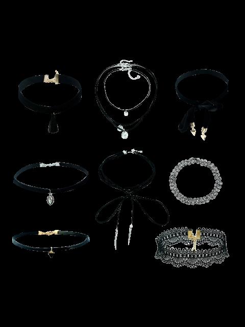 new Tassel Velvet Lace Geometric Necklaces - BLACK  Mobile