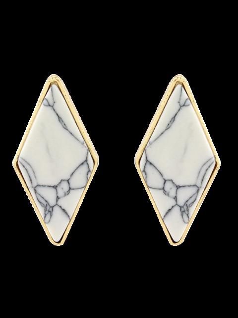 Boucles d'oreilles  artificielle géométriques en turquoise - Blanc  Mobile