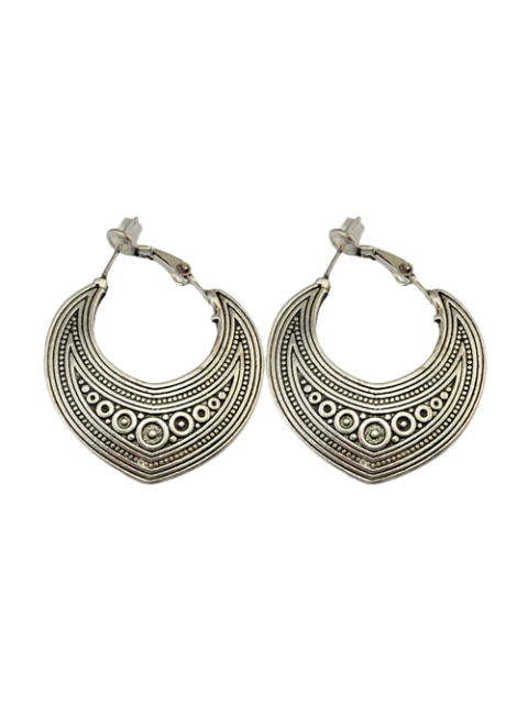 outfits Etched Moon Hoop Earrings - SILVER  Mobile