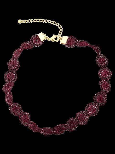 fancy Lace Hollow Out Floral Necklace -   Mobile