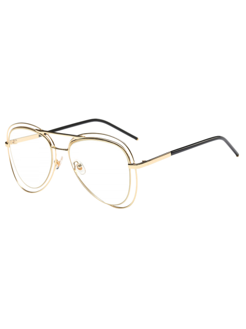 Llantas transparente de doble lente de las gafas de piloto - Dorado  Mobile