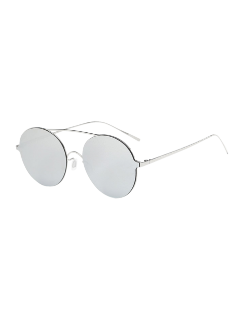 affordable Crossbar Metal Round Mirrored Sunglasses - SILVER  Mobile