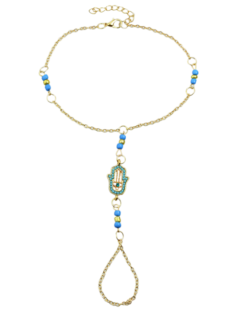 shops Hand Faux Gem Beads Anklet - BLUE  Mobile