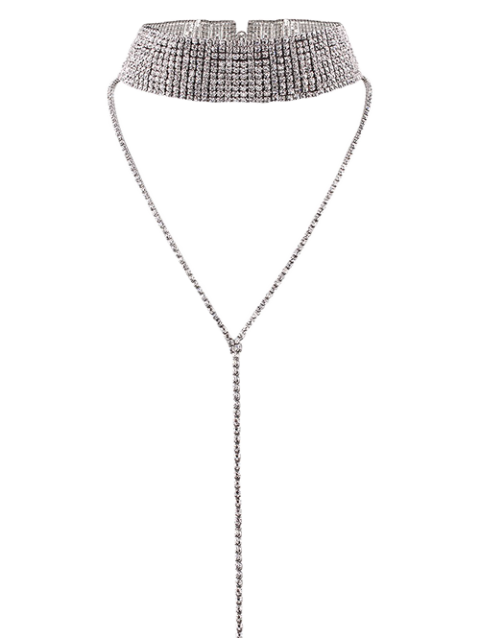 Collier ras du cou bijou long faux strass - Argent  Mobile