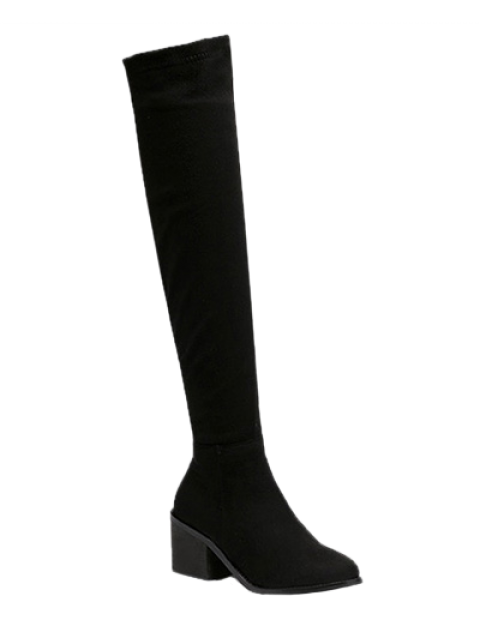 new Flock Chunky Heel Thigh Boots - BLACK 39 Mobile