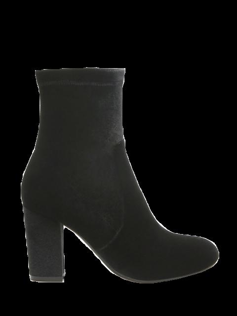 chic Chunky Heel Velvet Sock Boots - BLACK 38 Mobile