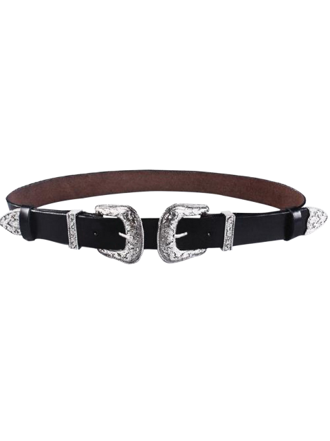 shops Cameo Double Buckle Faux Leather Belt - BLACK  Mobile