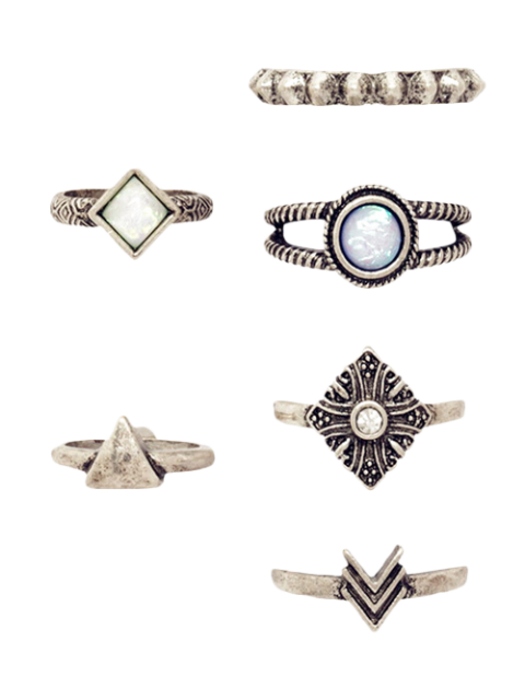 6 PCS Stammesgeometrischer Retro Ring - Silber  Mobile