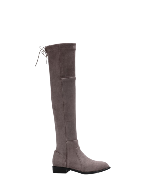 womens Flock Flat Heel Thigh Boots - GRAY 38 Mobile