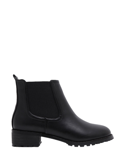 shops Elastic Round Toe Ankle Boots - BLACK 39 Mobile