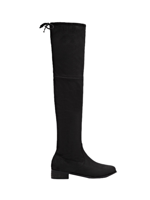 women's Flat Heel Zip Tie Up Thigh Boots - BLACK 39 Mobile