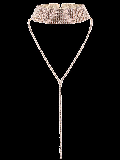 Diamantes de imitación ancha Gargantilla - Champán  Mobile