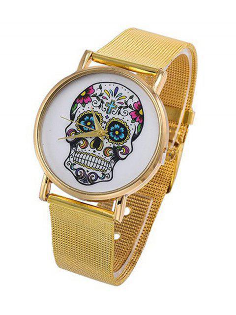 ladies Skull Flower Crucifix Pattern Quartz Watch - GOLDEN  Mobile