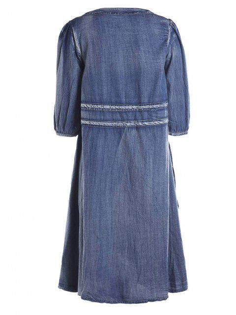 Drawstring Tribal Button Up Robe en denim - Bleu S Mobile