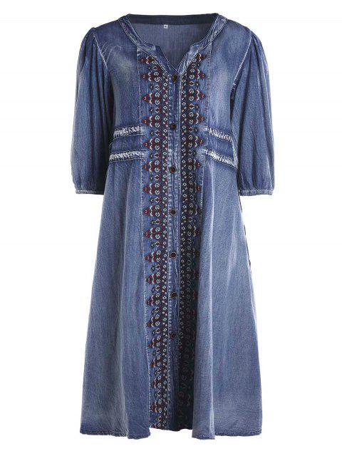 fashion Drawstring Tribal Button Up Denim Dress - BLUE S Mobile