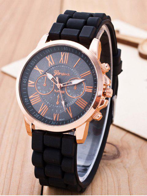 lady Roman Numerals Silicone Quartz Watch -   Mobile