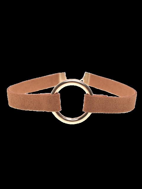 Collier ras-de-cou anneau en cuivre bande en velours - BRUN  Mobile