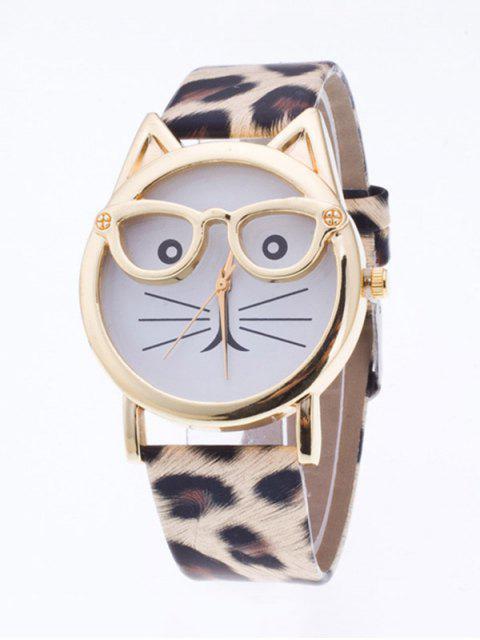 womens PU Leather Kitten Quartz Watch -   Mobile