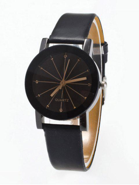 latest Rhinestone Geometric Faux Leather Quartz Watch - BLACK  Mobile
