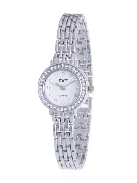 lady Rhinestone Chain Quartz Watch - SILVER  Mobile
