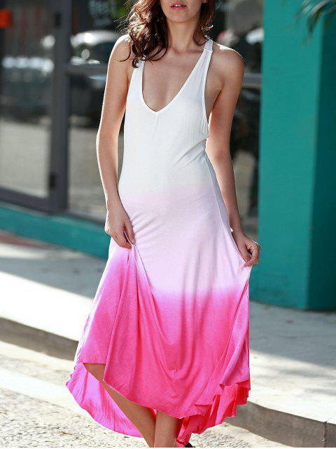 outfit Pink Ombre Color Plunging Neck Sleeveless Sundress - PINK M Mobile