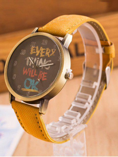 new Vintage Graffiti Pattern Quartz Watch - YELLOW  Mobile