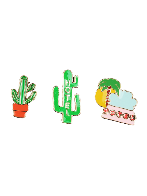 trendy Cactus Hotel Coconut Tree Brooch Set - GREEN  Mobile