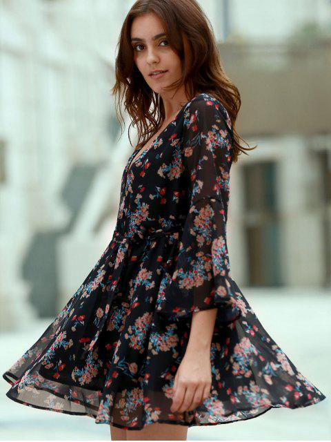 shops Flare Sleeve Floral Chiffon Dress - BLACK M Mobile