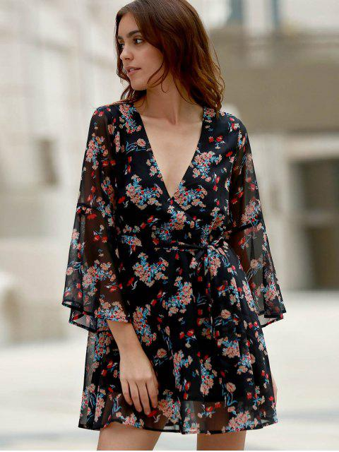 shop Flare Sleeve Floral Chiffon Dress - BLACK S Mobile