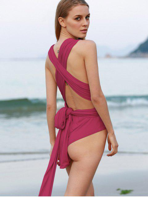 women Red Tied Backless Cross Halter Bodysuit - RED XL Mobile