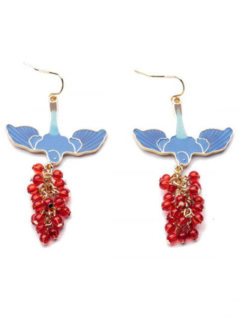 lady Pair of Beads Pendant Earrings - BLUE AND RED  Mobile