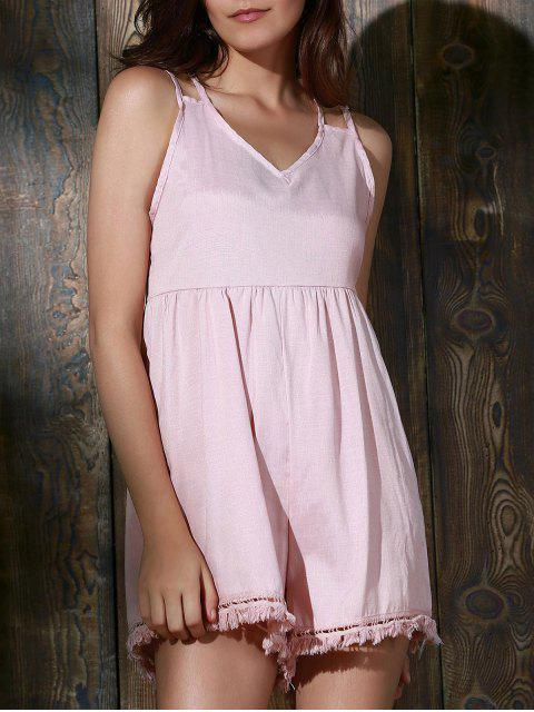 shops Tassels Backless Spaghetti Straps Playsuit - PINK L Mobile