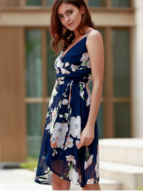 outfit Backless Spaghetti Straps Lace Spliced Floral Print Dress - PURPLISH BLUE L Mobile