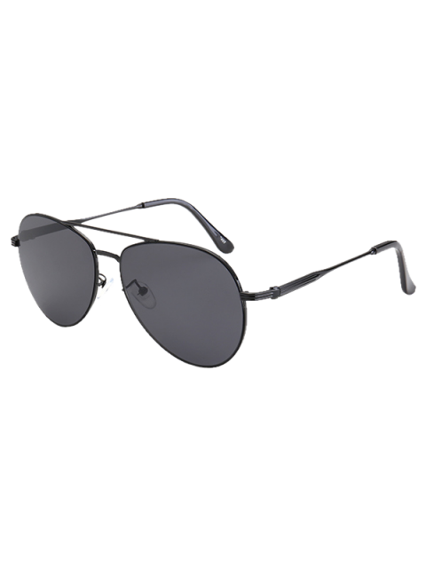 affordable Metal Crossbar Pilot Sunglasses - BLACK  Mobile
