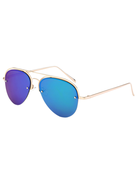 lady Half Frame Pilot Mirrored Sunglasses - ICE BLUE  Mobile