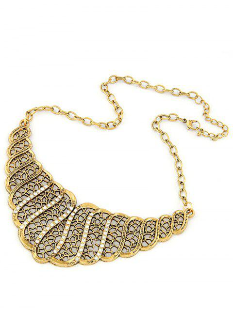 hot Rhinestone Hollow Out Palace Style Necklace - GOLDEN  Mobile