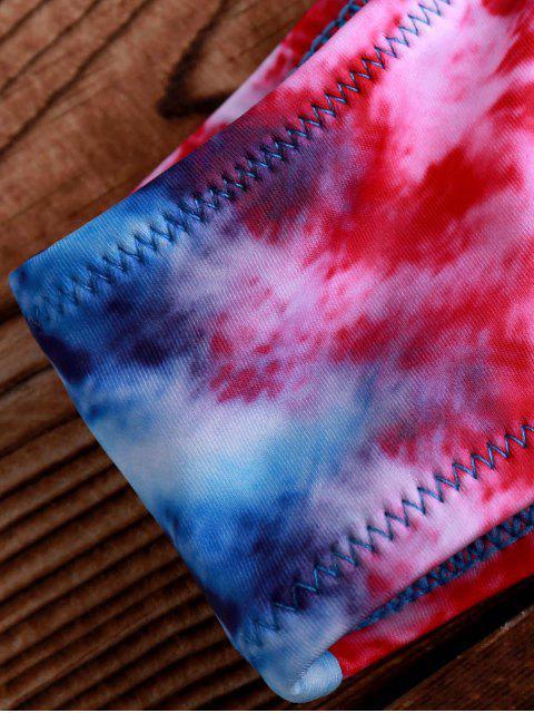 trendy Printed Crocheted Bikini Set - PURPLISH BLUE ONE SIZE(FIT SIZE XS TO M) Mobile