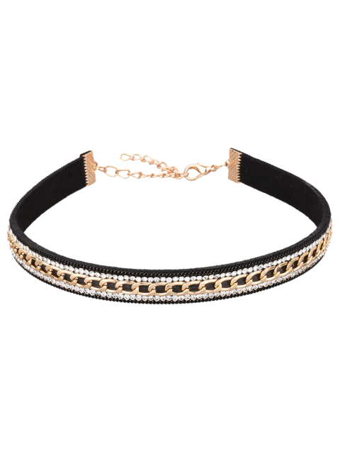 shops Faux Leather Rhinestone Chain Choker Necklace - BLACK  Mobile