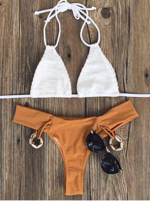 women Crochet Halterneck Bikini Set - WHITE AND BROWN S Mobile