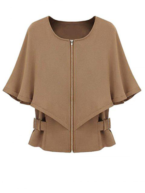 fancy Solid Color Round Color Half Sleeve Cape Coat - CAMEL L Mobile