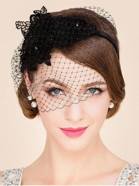 Black Lace Veil Cocktails Headband hat - Noir  Mobile