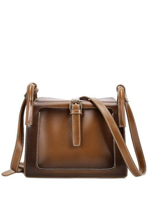 fashion Stitching Buckle PU Leather Crossbody Bag - BROWN  Mobile