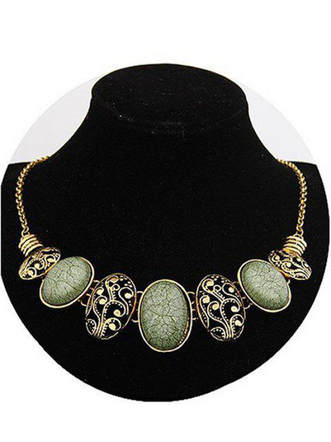 shop Tribal Style Faux Gem Statement Necklace - GREEN  Mobile