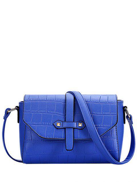 women Crocodile Pattern PU Leather Crossbody Bag - BLUE  Mobile