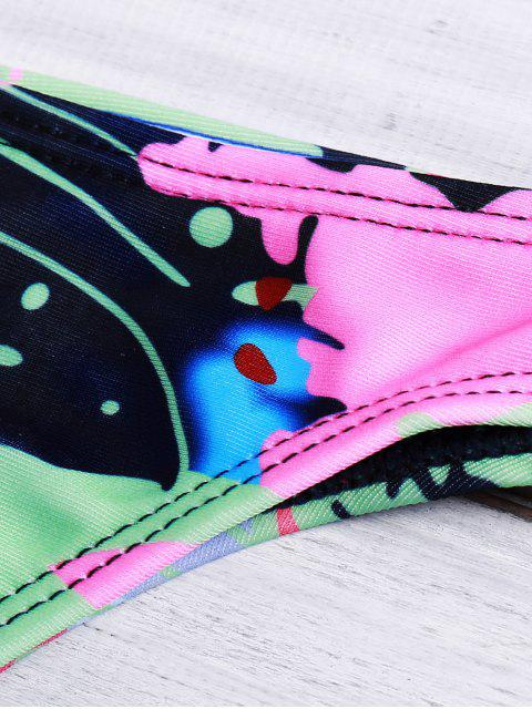 new Abstract Print Halterneck Bikini Set - PINK L Mobile