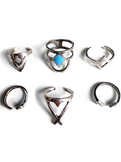 buy Ethnic Style Hollow Rhombus Rings -   Mobile