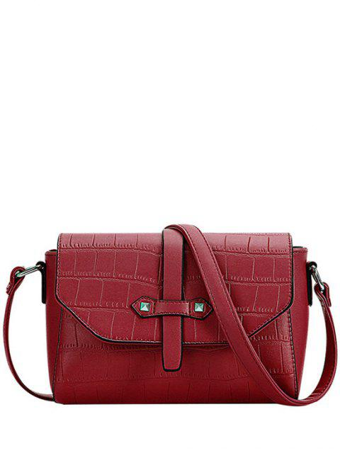 ladies Crocodile Pattern PU Leather Crossbody Bag - RED  Mobile