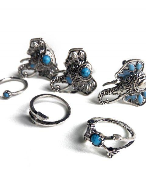 fancy Faux Turquoise Elephant Head Ethnic Style Rings -   Mobile