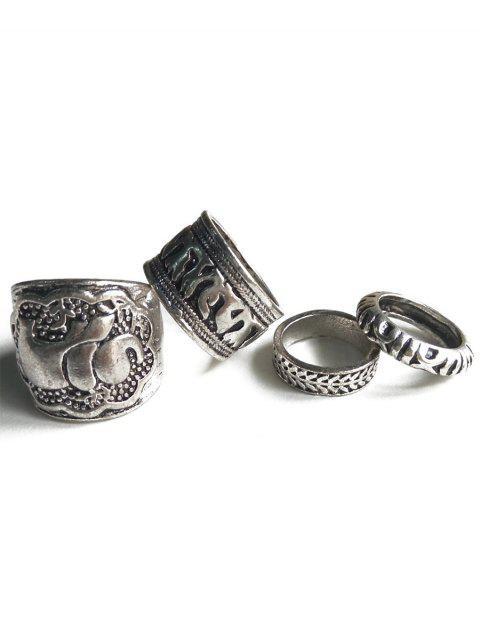 Elefant-Kopf-Miniatur-ethnische Art-Ringe - Silber  Mobile