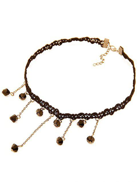buy Chain Fringed Lace Chokers Necklace - BLACK  Mobile